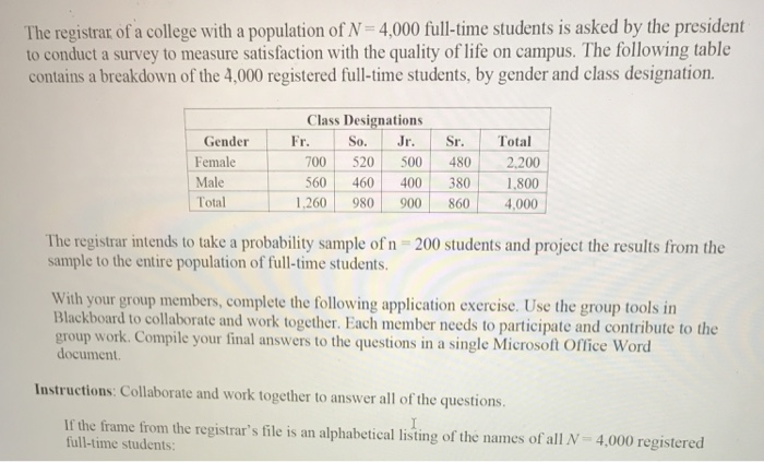 0f32a7c7f Solved  The Registrar Of A College With A Population Of N ...