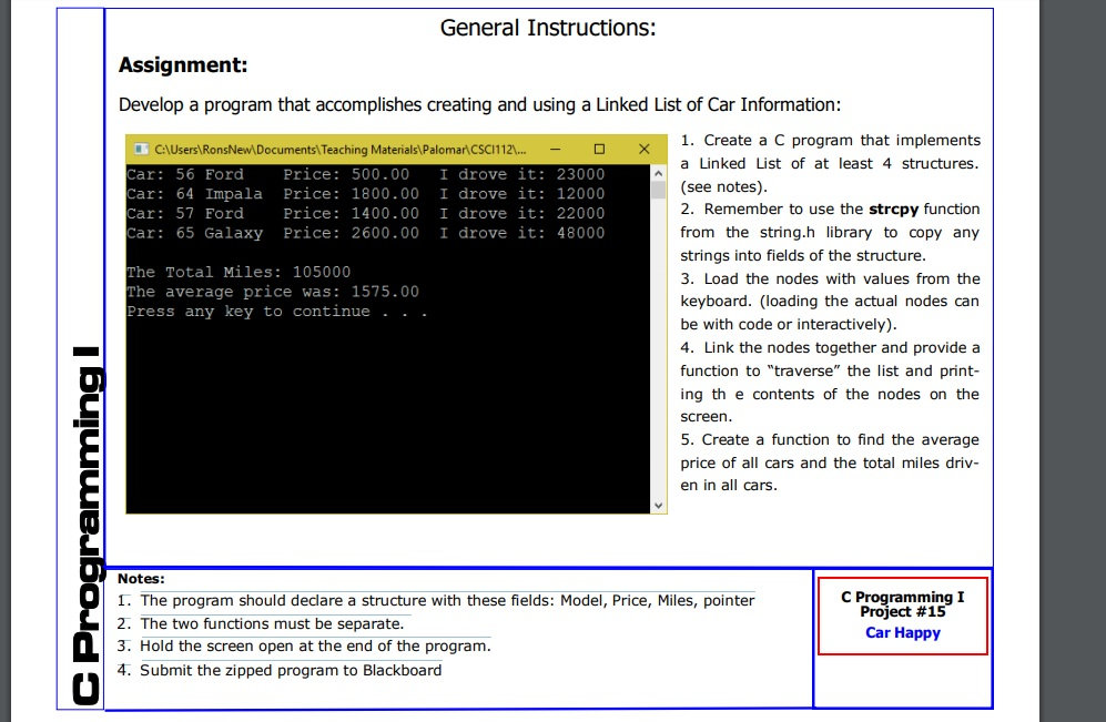 Solved: General Instructions: Assignment: Develop A Progra
