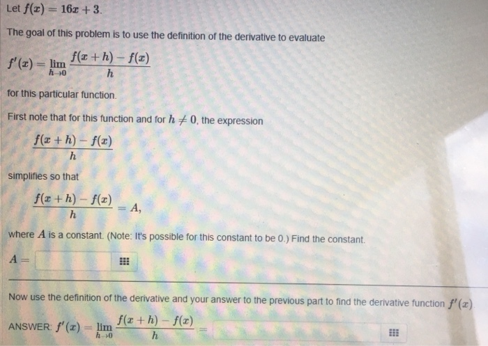 Solved: Let F(z) = 162 + 3 The Goal Of This Problem Is To