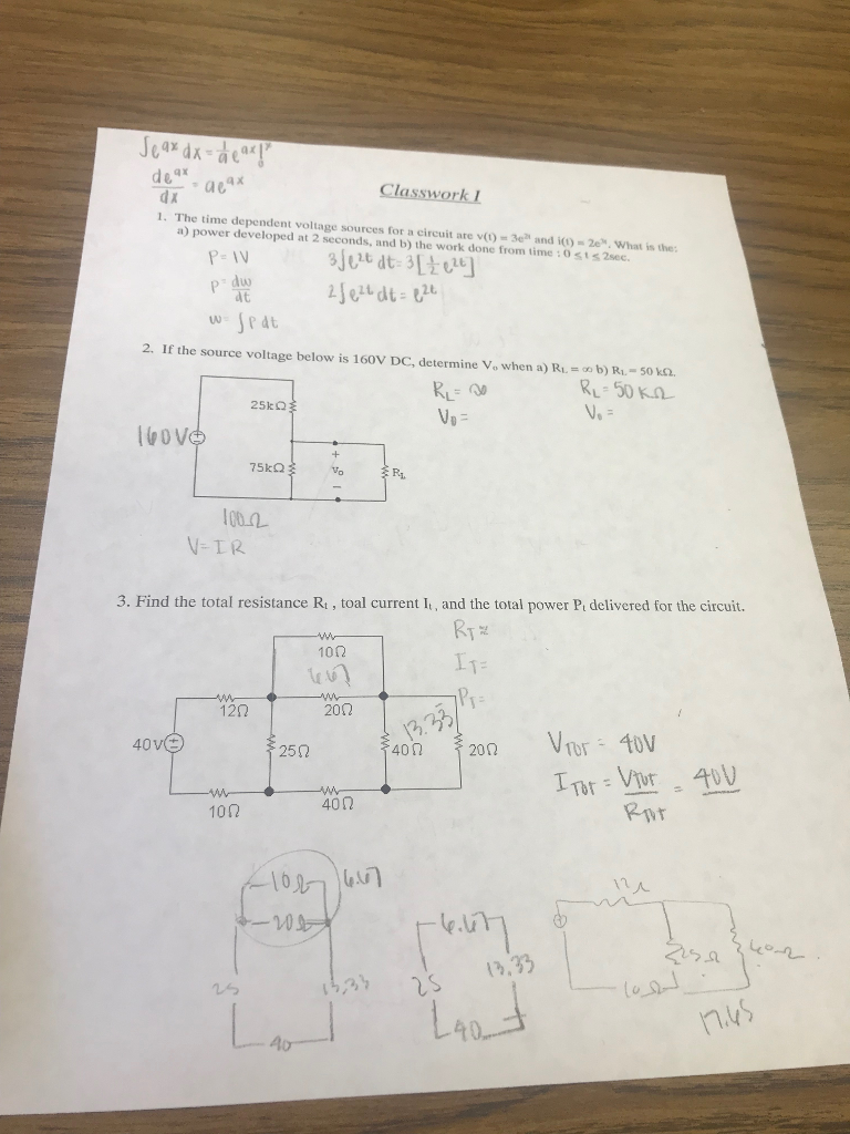 Solved Classworki Ime Dependent Voltage Sources For A Cir Determine The Total Resistance Of Circuit Below Are V 3e And I