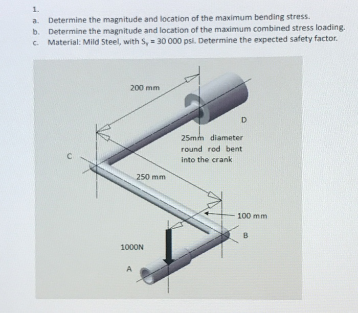 1. a. b. C. Determine the magnitude and location of the maximum bending stress. Determine the magnitude and location of the maximum combined stress loading. Material: Mild Steel, with Sy-30 000 psi. Determine the expected safety factor. 200 mm 25mm diameter round rod bent into the crank 250 mmm -100 mm 1000N