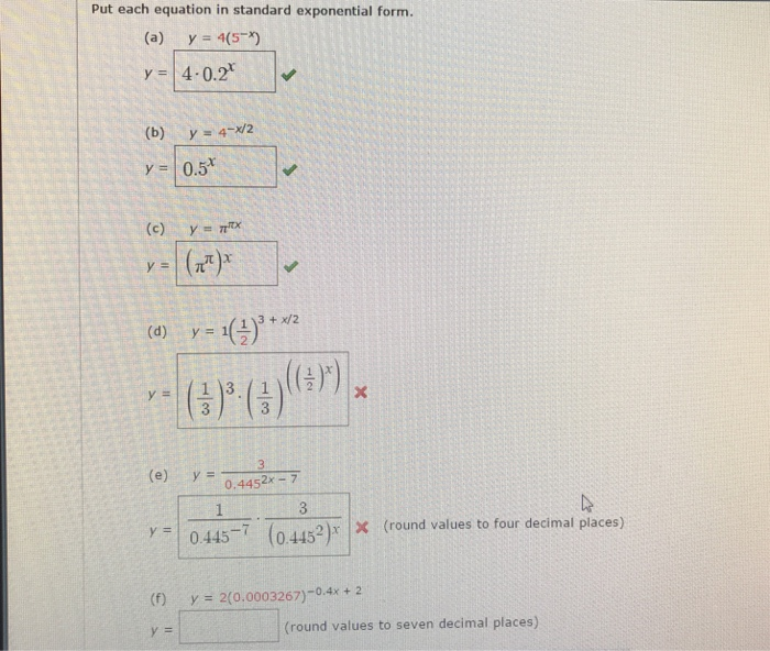 Solved Put Each Equation In Standard Exponential Form In