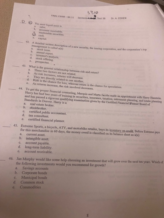 Solved: 1,7,10 FINAL EXAM-BA 11 Sections Test 38 Dr A The