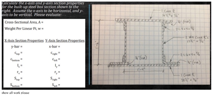 Alculate The X-axis And Y-axis Section Properties