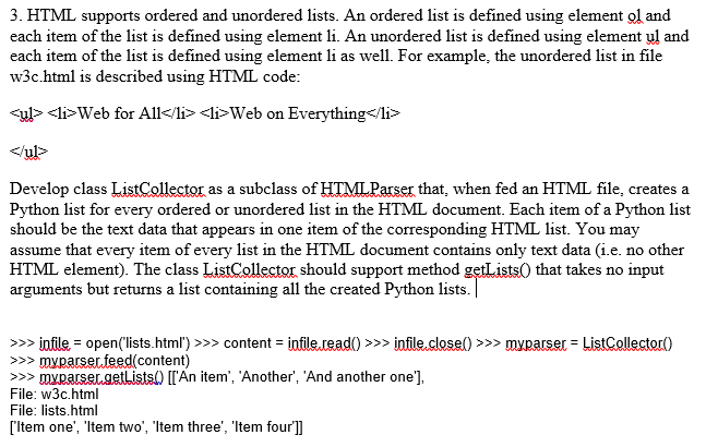 Solved: 3  HTML Supports Ordered And Unordered Lists  An O