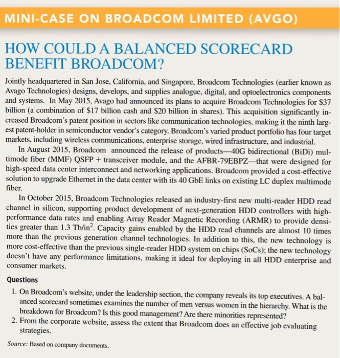 MINI-CASE ON BROADCOM LIMITED (AVGO) HOW COULD A B