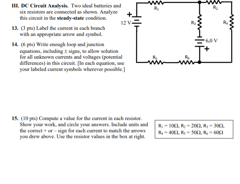 Solved: III  DC Circuit Analysis  Two Ideal Batteries And