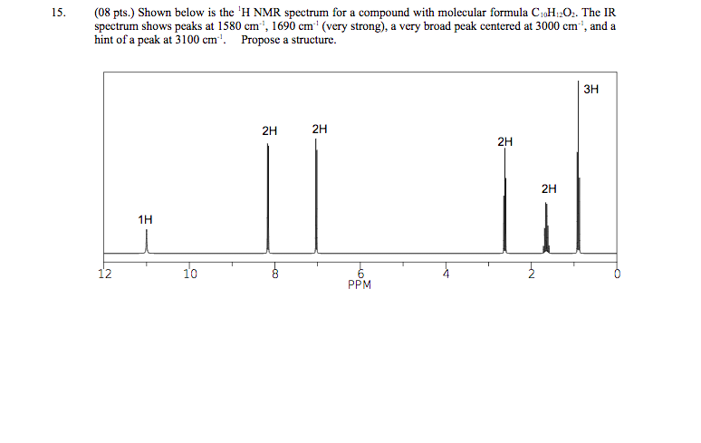 (08 pts.) Shown below is the iH NMR spectrum for a compound with molecula「formula C. H C. The IR spectrum shows peaks at 1580 cm, 1690 cm (very strong), a very broad peak centered at 3000 cm, and a hint of a peak at 3100 cm. Propose a structure. 15. зн 2H 2H 2H 2H 1H 12 10 PPM