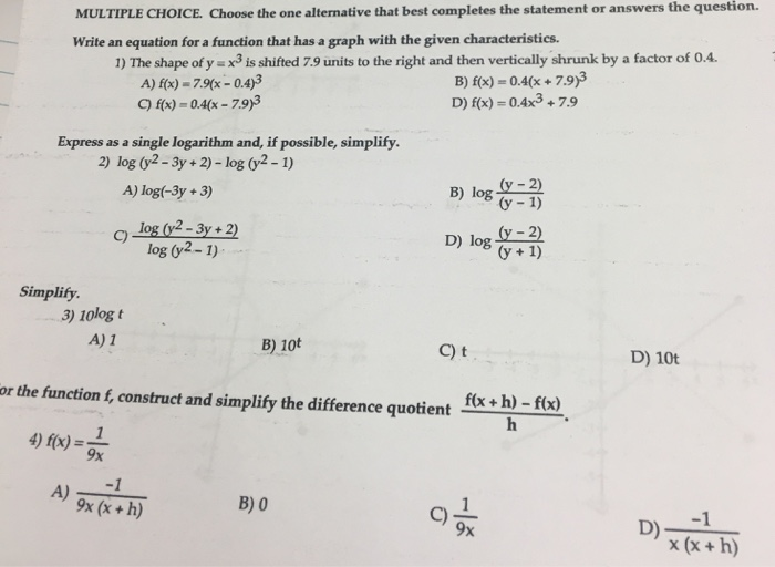 solved multiple choice choose the one alternative that b