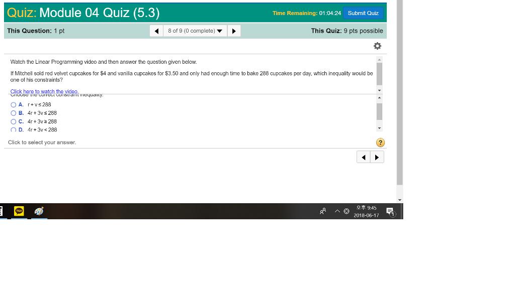 Solved: Quiz: Module 04 Quiz (5 3) Time Remaining: 01:04:2