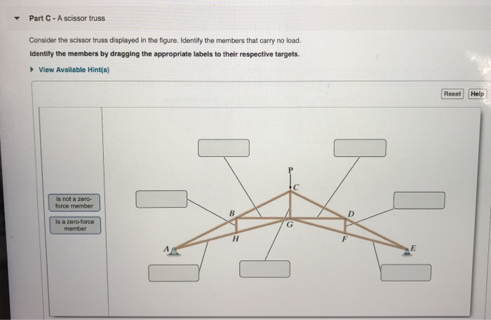 Solved: Part C- A Scissor Truss Consider The Scissor Truss