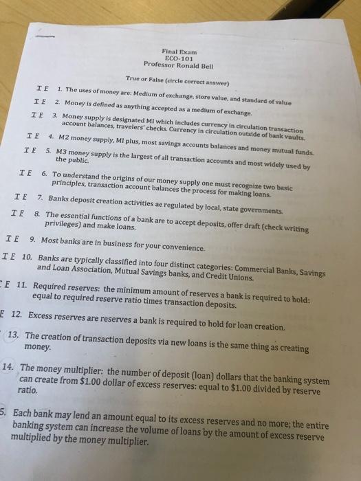Solved: Final Exam ECO-101 Professor Ronald Bell True Or F