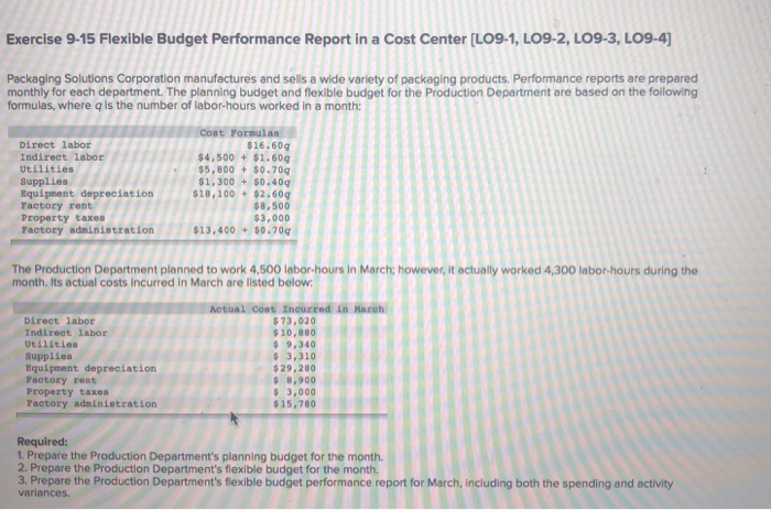Solved: Exercise 9-15 Flexible Budget Performance Report I