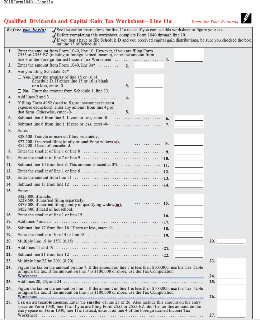 form 1040 qualified dividends and capital gain tax worksheet 2018  Create A Function In C++ For Calculating The Tax D ...
