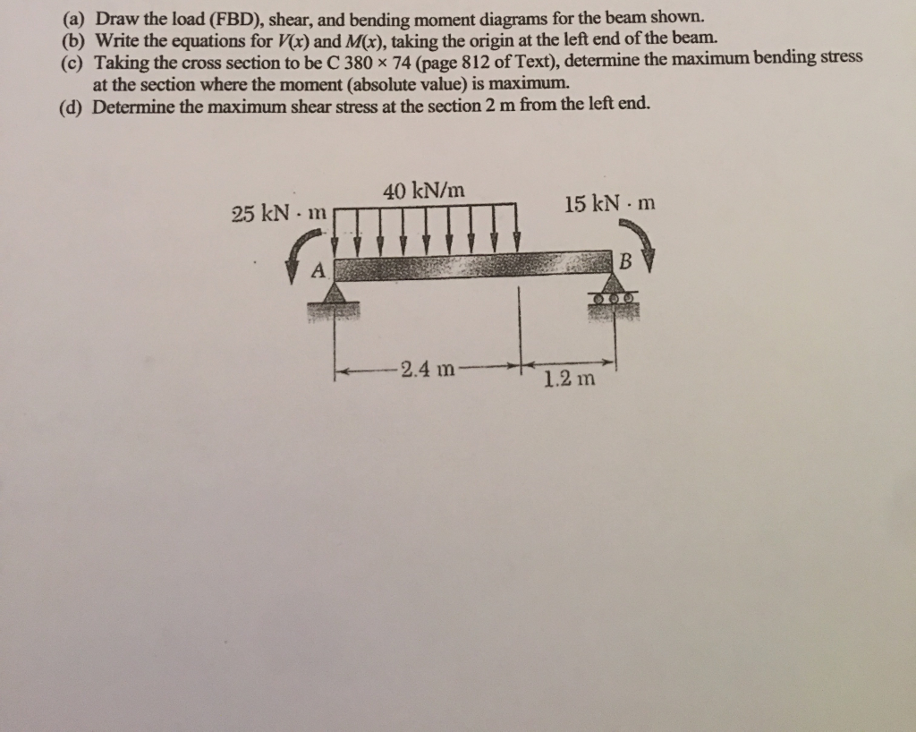 Solved A Draw The Load Fbd Shear And Bending Moment Diagrams For Cheggcom