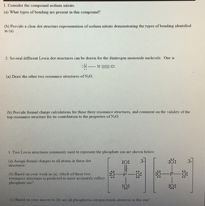 Solved 1 Consider The Compound Sodium Nitrate A What