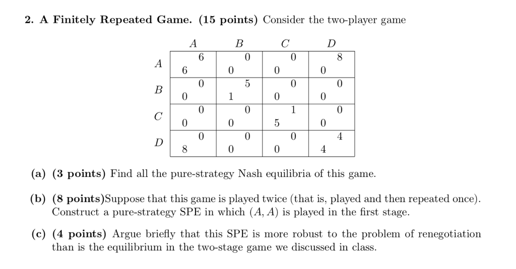 2. A Finitely Repeated Game. (15 points) Consider the two-player game 0 0 0 (a) (3 points) Find all the pure-strategy Nash equilibria of this game. (b) (8 points)Suppose that this game is played twice (that is, played and then repeated once) Construct a pure-strategy SPE in which (A, A) is played in the first stage. (c) (4 points) Argue briefly that this SPE is more robust to the problem of renegotiation than is the equilibrium in the two-stage game we discussed in class.