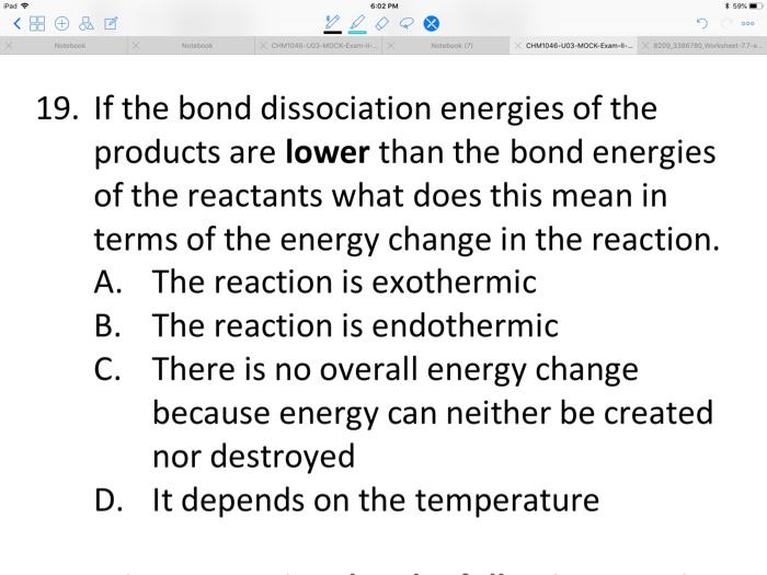 Solved Ipadア 59 Chm1046 U03 Mock Exam 19 If The Bond