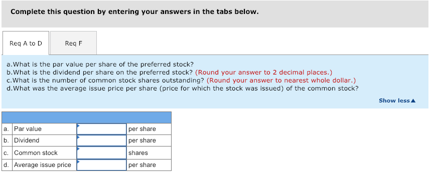 Complete this question by entering your answers in the tabs below. Req A to D Req F a.What is the par value per share of the preferred stock? b.What is the dividend per share on the preferred stock? (Round your answer to 2 decimal places.) c.What is the number of common stock shares outstanding? (Round your answer to nearest whole dollar.) d.What was the average issue price per share (price for which the stock was issued) of the common stock? Show lessA a. Par value b. Dividend c. Common stock d. Average issue price per share per share shares per share