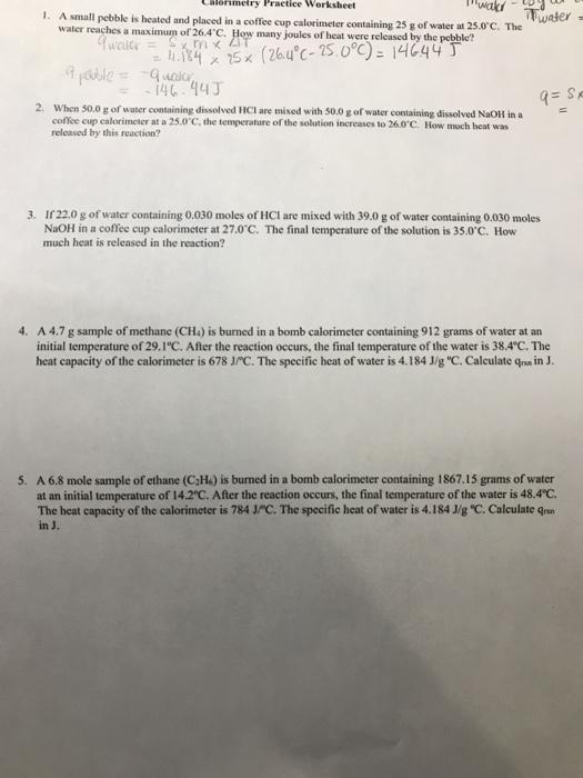 Calorimetry Practice Worksheet 1 A Small Pebble I – Calorimetry Worksheet