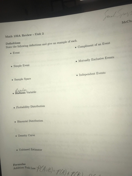 Solved Mccl Math 132a Review Unit 2 Definitions State The