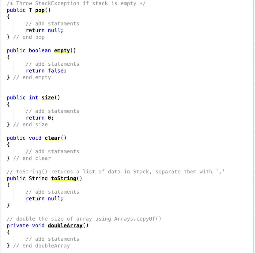 Solved: Java  Must Not Use Java API Java util Stack /** A