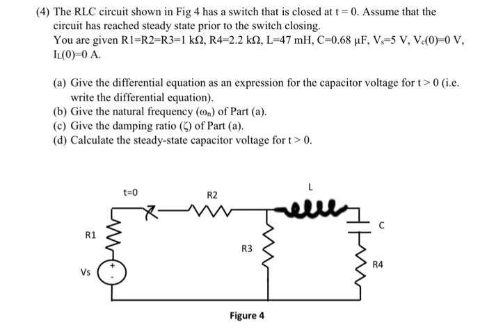 Solved: (4) The RLC Circuit Shown In Fig 4 Has A Switch Th ...
