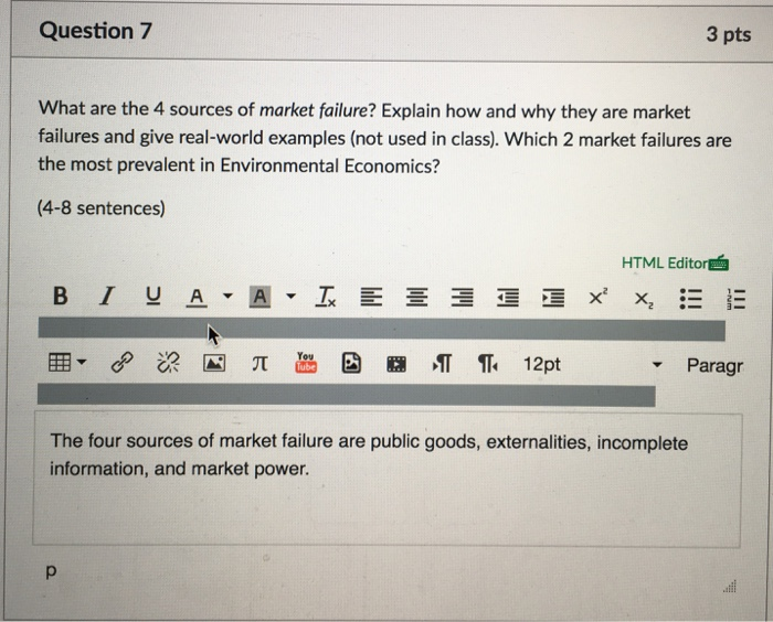 Solved What Are The 4 Sources Of Market Failure Explain