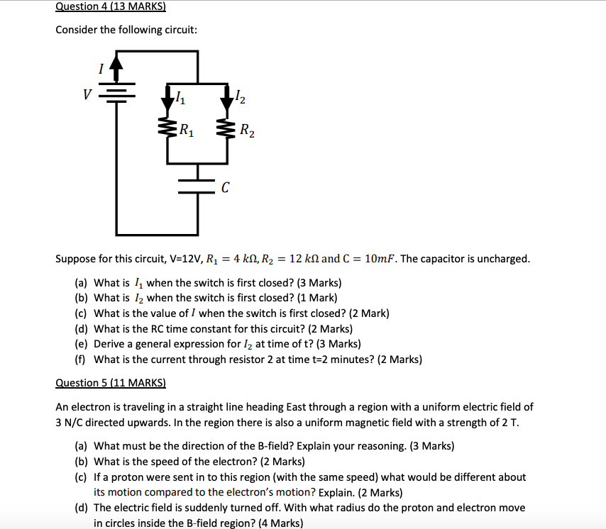 Consider the following circuit: 2 1 2 Suppose for this circuit, V-12V, R1-4 kQ, R2-12 kΩ and C-10mF. The capacitor is uncharg