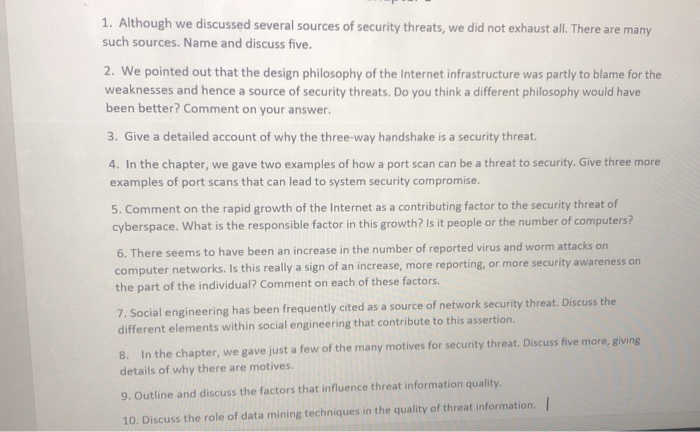 Solved: 1  Although We Discussed Several Sources Of Securi