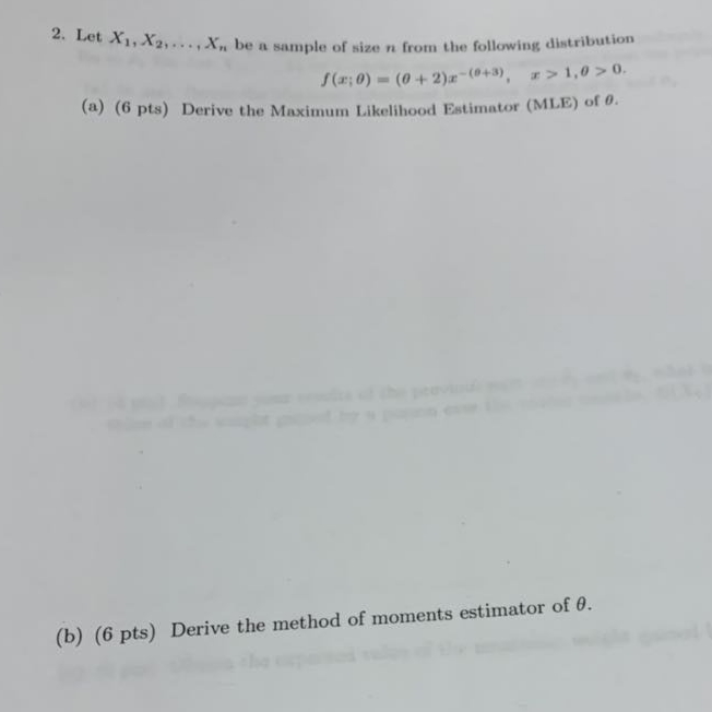 Solved: Let X1,   ,Xn Be A Sample From The Pdf F(x