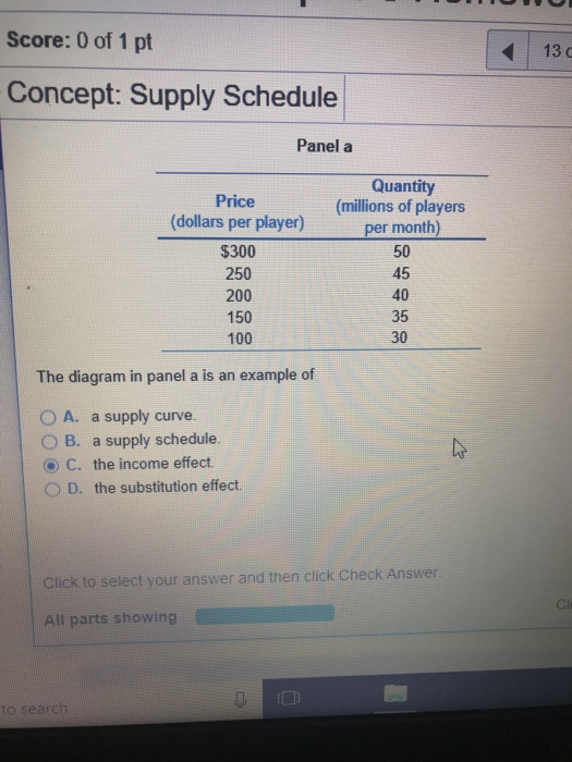 Solved: Score: 0 Of 1 Pt 13 C Concept: Supply Schedule Pan