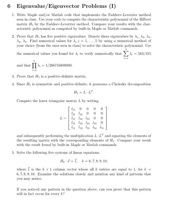 Solved: 6 Eigenvalue/Eigenvector Problems (I) 1  Write Map