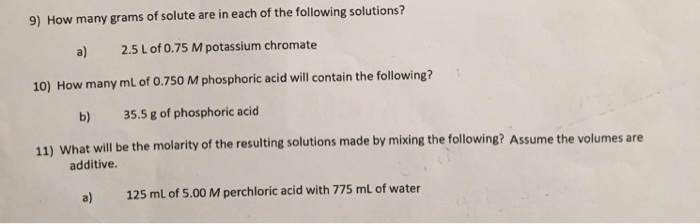 9 How Many Grams Of Solute Are In Each The Following Solutions A