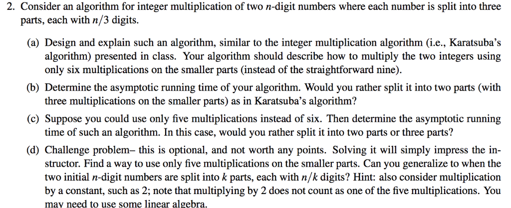 Solved: 2  Consider An Algorithm For Integer Multiplicatio