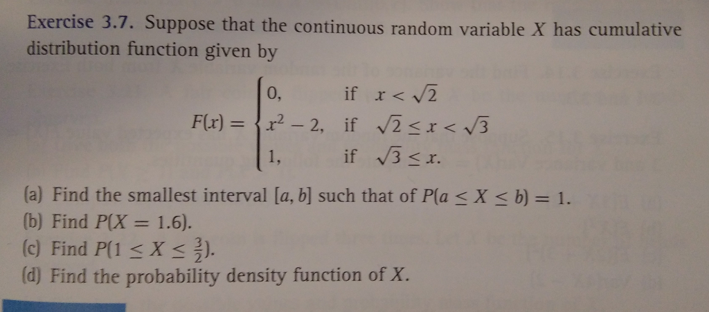 Solved: Exercise 3 7  Suppose That The Continuous Random V