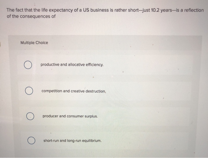 Solved: The Fact That The Life Expectancy Of A US Business ...