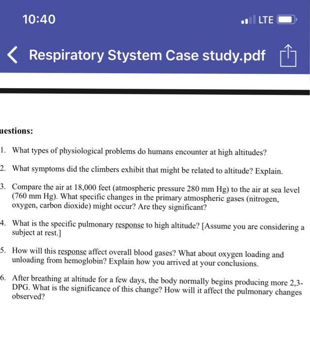 Solved: 10:40 LTE Respiratory Stystem Case Study pdf R Ues