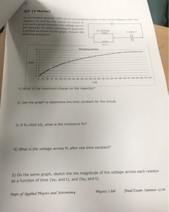 Solved: Q3: [6 Marks] An Uncharged Capacitor (800 UF) Is C