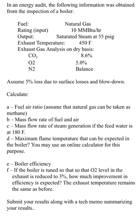 Solved: In An Energy Audit, The Following Information Was ...