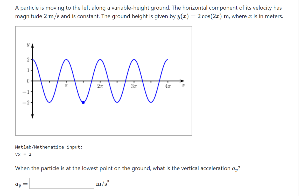 A particle is moving to the left along a variable-height ground. The horizontal component of its velocity has magnitude 2 m/s