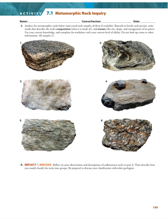 Solved: A CTIVITY 7 1 Metamorphic Rock Inquiry Name: Date