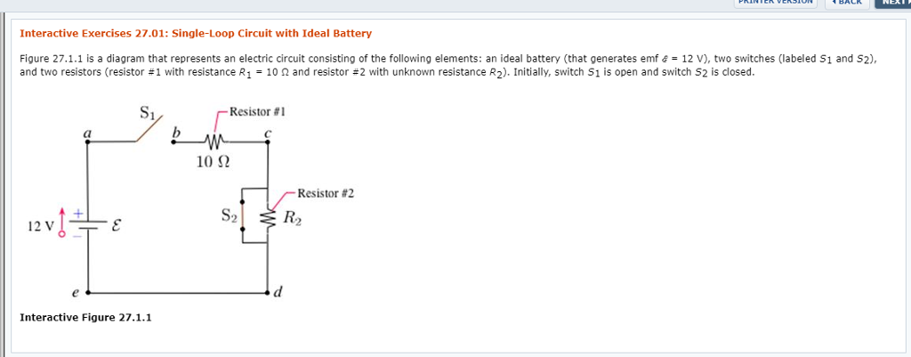 interactive exercises 27 01: single-loop circuit with ideal battery figure  27 1 1 is