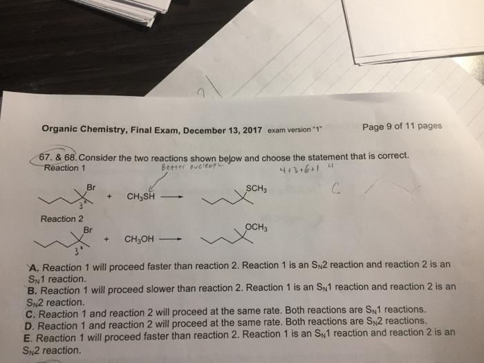 Solved: 1 Organic Chemistry, Final Exam, December 13, 2017