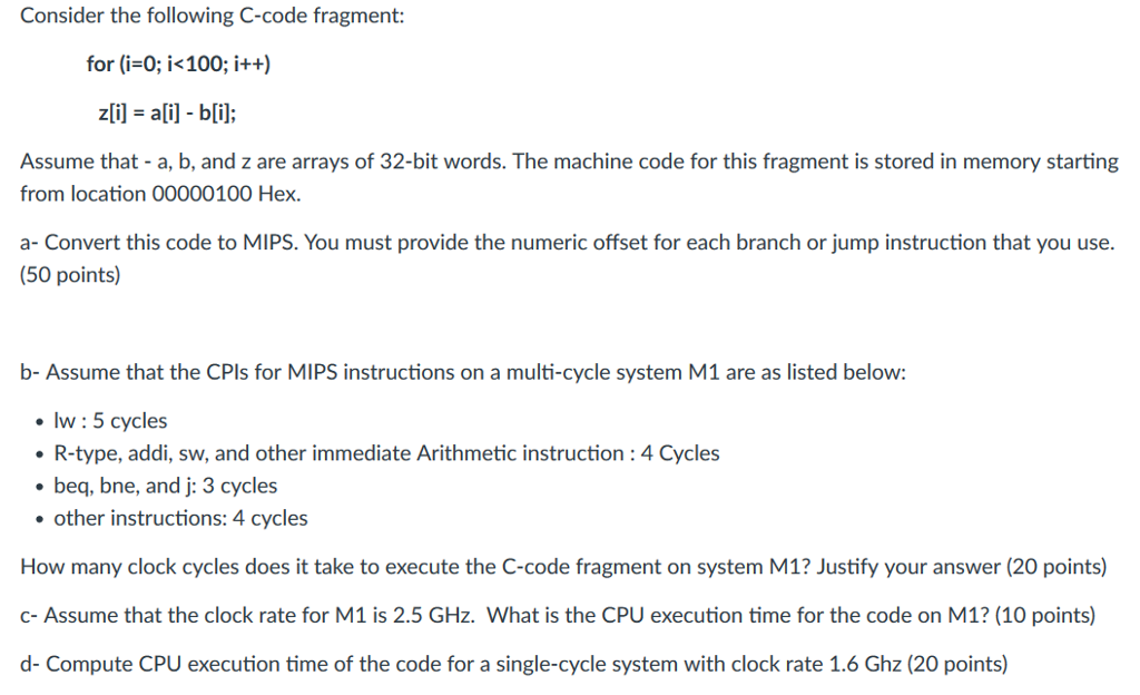 Consider The Following C Code Fragment For I0 I Chegg