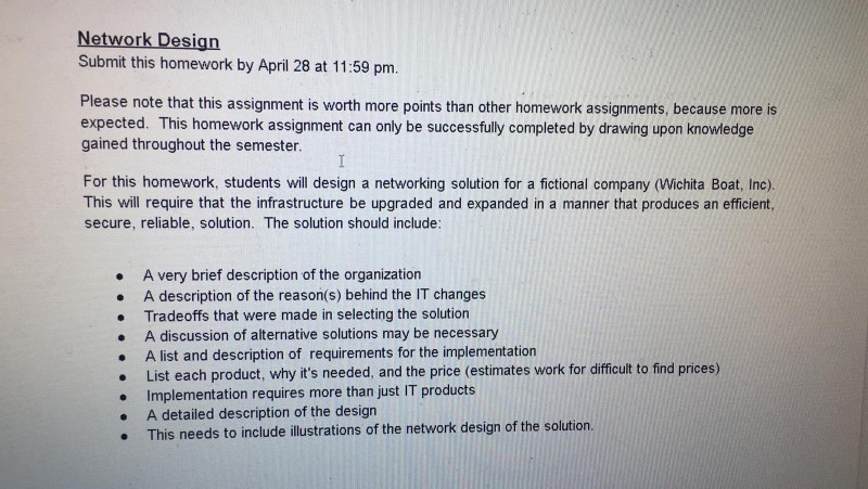 Network Design Submit This Homework By April 28 At Chegg Com