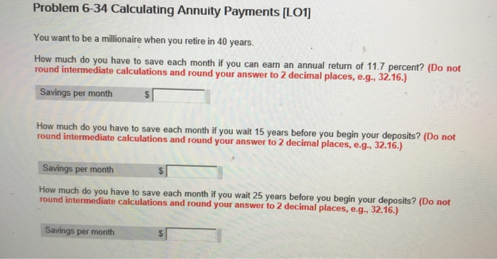 solved problem 6 34 calculating annuity payments lo1 yo