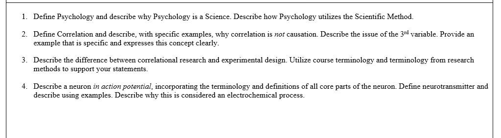 Solved: 1  Define Psychology And Describe Why Psychology I