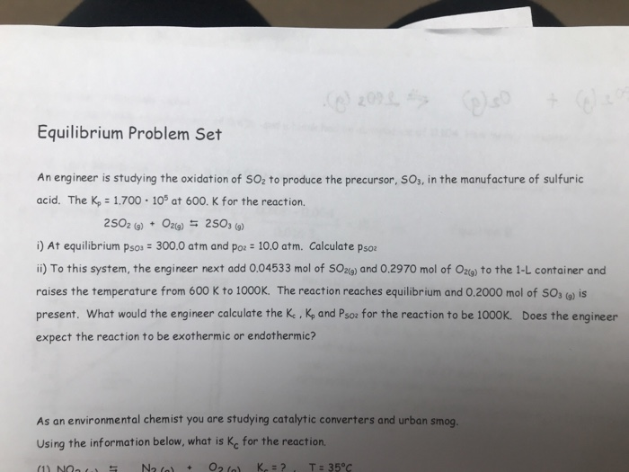 Solved: Equilibrium Problem Set An Engineer Is Studying Th