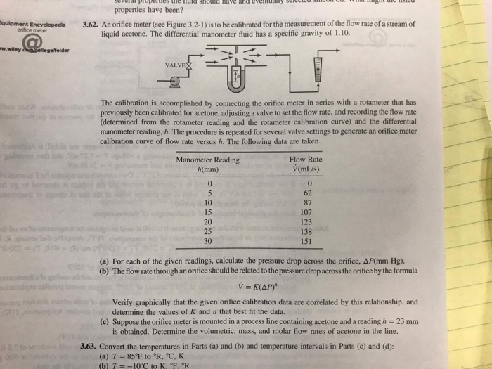 Solved: Properties Have Been? An Orifice Meter (see Figure